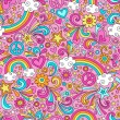 Back to School Notebook Doodles Rainbow Seamless Pattern — 图库矢量图片