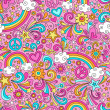 Back to School Notebook Doodles Rainbow Seamless Pattern — ストックベクタ