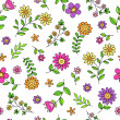 Groovy Flower Doodles Seamless Repeat Pattern Vector - Stock Vector