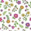 Stock Vector: Groovy Flower Doodles Seamless Repeat Pattern Vector