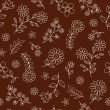Flower Outline Doodles Seamless Repeat Pattern Vector - Stock Vector