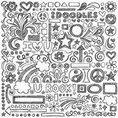 Geri okul vektör tasarım öğeleri için yarım yamalak doodle — Stok Vektör