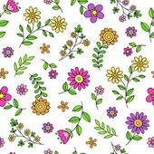Groovy flor doodles padrão de repetição sem costura vector — Vetor de Stock