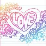 doodle incompletos de amor corazón San Valentín a elementos de diseño vectorial de escuela — Vector de stock  #13304364