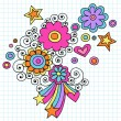 Flower Power Groovy Psychedelic Doodles Vector Design — Stock Vector