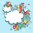 Stock Vector: Cloud Picture Frame Groovy Psychedelic Doodles Vector Design
