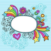 Oval Picture Frame Groovy Psychedelic Doodles Vector Design — Stock Vector