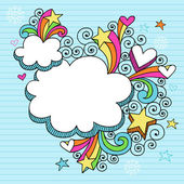 Cloud Picture Frame Groovy Psychedelic Doodles Vector Design — Stock Vector
