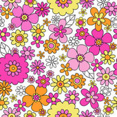 Flower Doodles Seamless Pattern Vector Background Design — Stock Vector