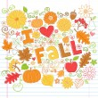 I Love Fall Autumn Foliage Leaf and Pumpkin Doodles Vector — Stock Vector