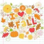 I Love Fall Autumn Foliage Leaf and Pumpkin Doodles Vector — Stock Vector
