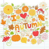 I Love Autumn Fall Foliage Leaf and Pumpkin Doodles Vector — Stock Vector