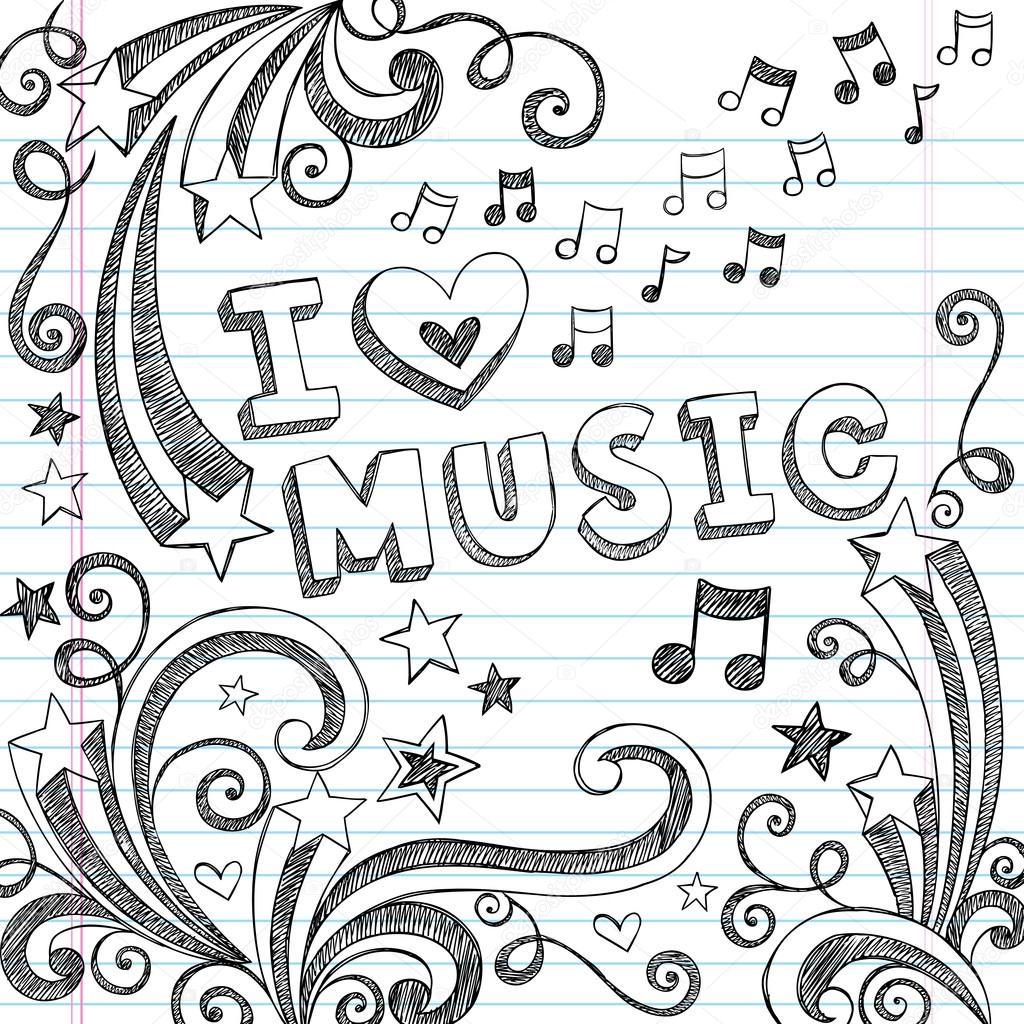 Me Encanta Doodle Incompletos De Musica Hacia La Escuela