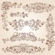 Stock Vector: HennPaisley Vines and Flowers Mehndi Tattoo Doodles