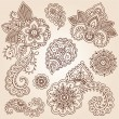 Henna Mehndi Doodles Abstract Floral Paisley Design Elements - Stock Vector