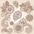 Henna Mehndi Doodles Abstract Floral Paisley Design Elements - Image vectorielle
