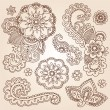 Stock Vector: HennMehndi Doodles Abstract Floral Paisley Design Elements