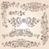 Henna Paisley Vines and Flowers Mehndi Tattoo Doodles — Stock Vector