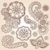 Henna Mehndi Doodles Abstract Floral Paisley Design Elements — Stock Vector