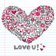 Hand-Drawn Valentine's Day Heart and Love You Lettering Sketchy Notebook Doodles — Imagen vectorial