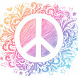 Hand-Drawn Psychedelic Groovy Peace Sign — Stock Vector