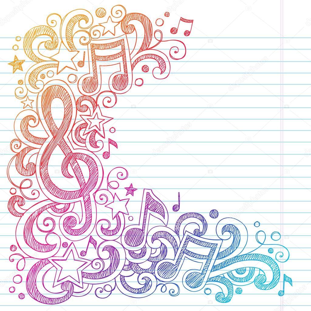 笔记和漩涡手绘矢量插画内衬素描本纸张背景上的粗略