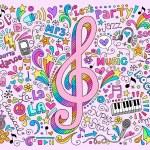 müzik Not okula geri yarım yamalak doodles — Stok Vektör