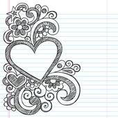 Heart Frame Border Back to School Sketchy Notebook Doodles — Stock Vector