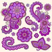 Henna Doodle Mehndi Tattoo Colorful Vector Design Elements — Stock Vector
