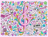 Note de musique sommaire retour à l'école doodles — Vecteur
