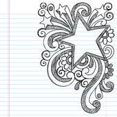 Bordure de cadre étoile vers portable sommaire école doodles — Vecteur