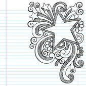Star Frame Border Back to School Sketchy Notebook Doodles — Vecteur
