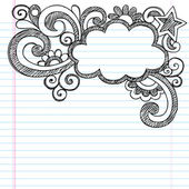 Borda de quadro de nuvem para notebook esboçado escola doodles — Vetorial Stock