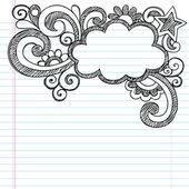Borde de nube a cuaderno incompleto escuela garabatos — Vector de stock