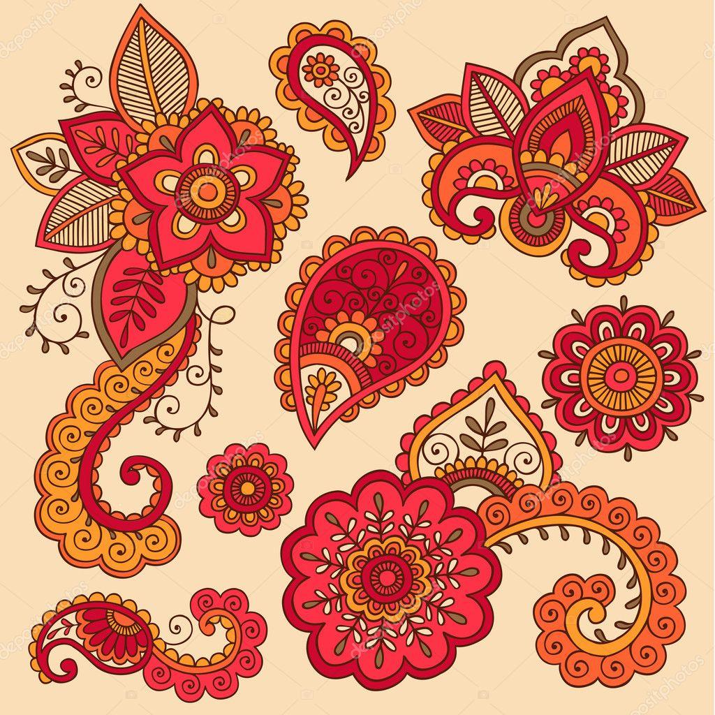 Henna Tattoo Vector: Henna Doodle Mehndi Tattoo Colorful Vector Design Elements