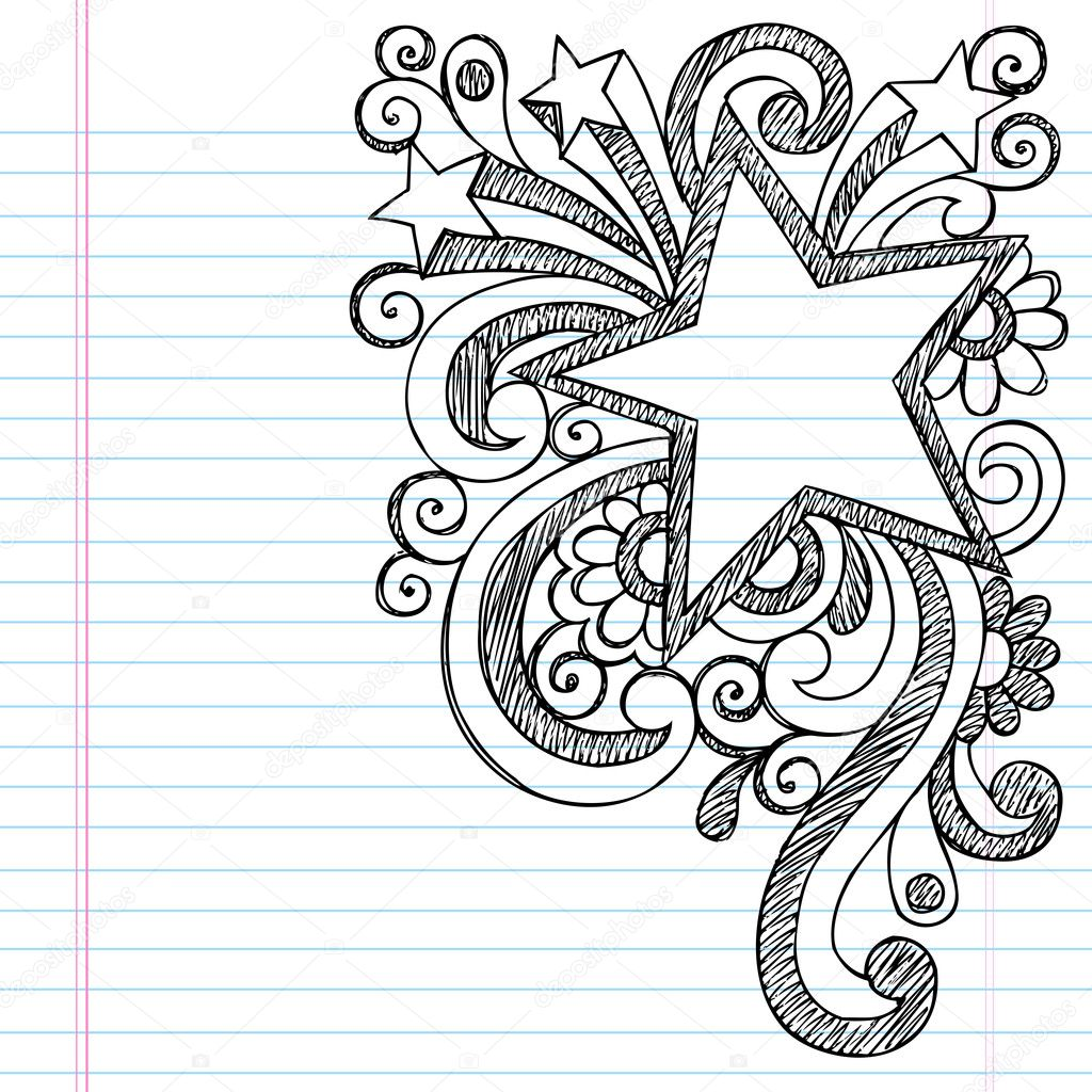 Star Frame Border Back to School Sketchy Notebook Doodles ...