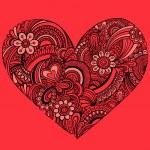 handgetekende ingewikkelde henna tatoeage paisley hart doodle — Stockvector  #16204671