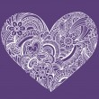Hand-Drawn Intricate Henna Tattoo Paisley Heart Doodle - Stock Vector