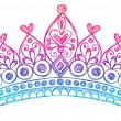 Hand-Drawn Sketchy Royalty Princess Tiara Crown — Stockvectorbeeld