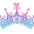 Hand-Drawn Sketchy Royalty Princess Tiara Crown — 图库矢量图片