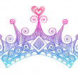 Hand-Drawn Sketchy Royalty Princess Tiara Crown — Stockvektor