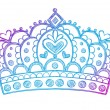 Hand-Drawn Sketchy Royalty Princess Tiara Crown — Stock Vector