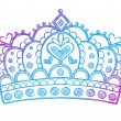Hand-Drawn Sketchy Royalty Princess Tiara Crown — Vektorgrafik