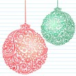 Stock Vector: Hand-Drawn Sketchy Doodle HennPaisley Pattern Christmas Ornaments