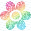 Hand-Drawn Abstract Sketchy Henna Paisley Doodles Flower — Stock Vector