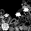 Stock Vector: Groovy Psychedelic Black and White Doodle Flower Garden