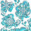 Stock Vector: Groovy Psychedelic Doodle Snowflakes with Swirls