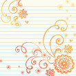 Hand-Drawn Flowers, Leaves, and Swirls Sketchy Notebook Doodles - Stock Vector