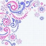 fleurs et vignes sommaires retour à l'école doodles — Vecteur