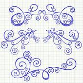 Swirls and Curls Hand-Drawn Sketchy Notebook Doodles Ornamental Flourish Set — Stock Vector